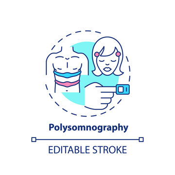 Polysomnography concept icon. Daytime nap study. Monitoring device. Sleep disorder test. Healthcare examination idea thin line illustration. Vector isolated outline RGB color drawing. Editable stroke