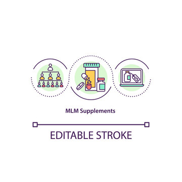 MLM supplements concept icon. Pyramid scheme business. Online buying pills and medicines. Network marketing idea thin line illustration. Vector isolated outline RGB color drawing. Editable stroke