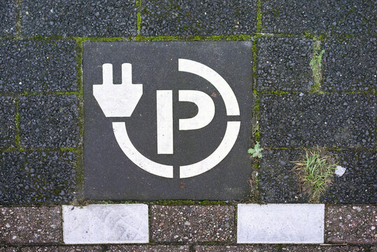 Parking spot where one can charge an electric car