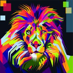 Lion head in pop art style
