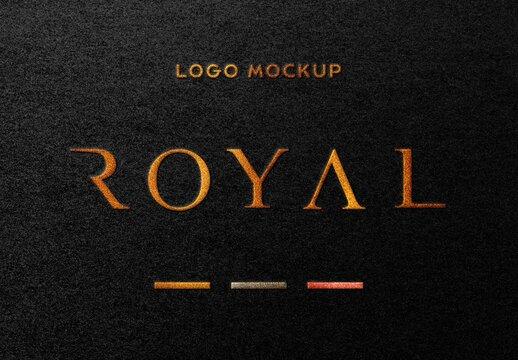 Dark Paper Gold Foil Embossed Logo Mockup