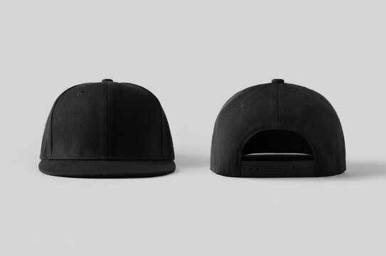 Black snapback caps mockup on a grey background, front and back side.