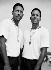Male twins with medals