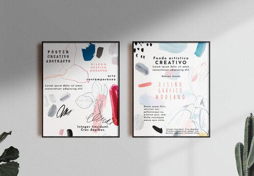 Conjunto de pósteres pintados de estilo floral
