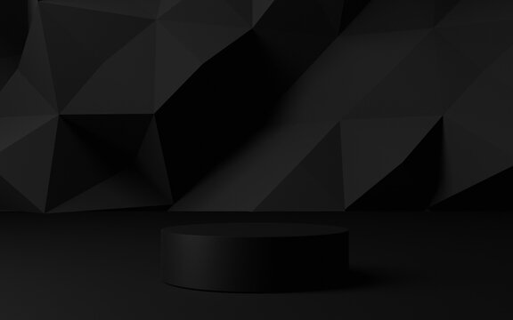 3d rendering dark black background with geometric shapes, podium on the floor. Platforms for product presentation, background. Abstract composition design,show stand product is black color