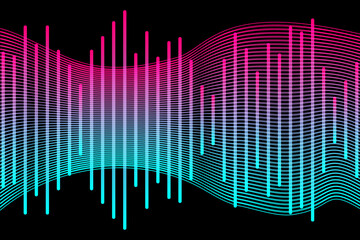 Fototapeta Social media concept. Music waves, gradient color background. Abstract sound wave stripe lines colourful equalizer isolated on black background. Vector illustration. EPS10 obraz