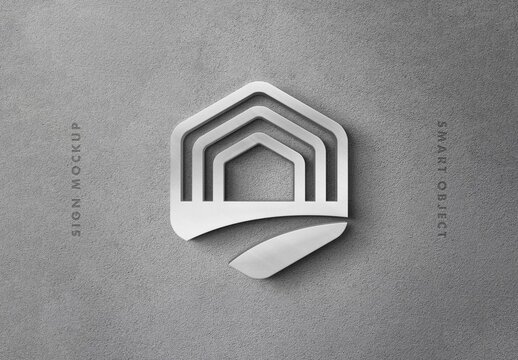 3D Metallic Logo Sign Mockup on Concrete Wall