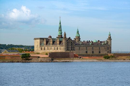View from sea of Kronborg castle in Helsingor (Elsinore). Most important Renaissance castles in Northern Europe, known worldwide from Shakespeare's Hamlet. Helsingør, Denmark.