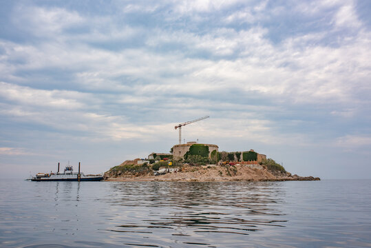 Mamula island fort in Adriatic sea entrance to the Bay of Kotor. During World War 2 converted to concentration camp by Benito Mussolini's forces. In 2016 sold for construction a luxury resort.