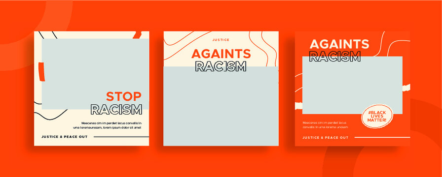 Set of editable templates for Instagram post, Facebook square frame, social media, stop racism, black lives matter, advertisement, and business promotion, fresh design with orange and black color (3/3