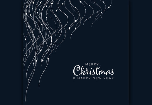 Merry Christmas Card Layout with Wavy Light Chains