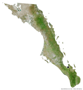Baja California Sur, state of Mexico, on white. Satellite