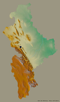 Nuevo Leon, state of Mexico, on solid. Relief