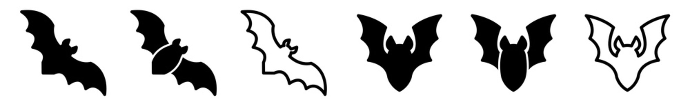 Bat Icon Black | Flying Bats Illustration | Halloween Symbol | Vampire Logo | Scary Sign | Isolated | Variations
