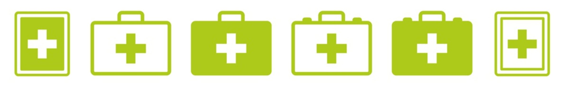 First Aid Kit Icon Green | Emergency Box Illustration | Medical Help Symbol | Paramedic Bag Logo | Cross Sign | Isolated | Variations