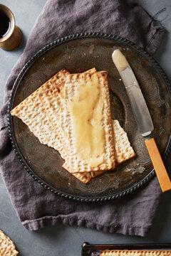 Jewish Passover Matzah with Honey