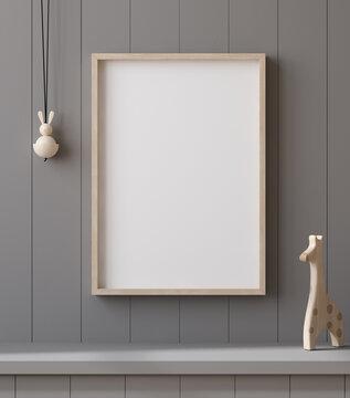 Mockup poster frame close up on shelf with toy, 3d render