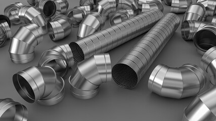 Fototapeta Galvanized elbow spiral duct for air conditioning and ventilation systems in industrial equipment. obraz