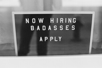 Funny employment advertising sign