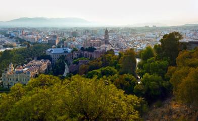 Malaga, Spain. Cityscape Topped View Of Malaga