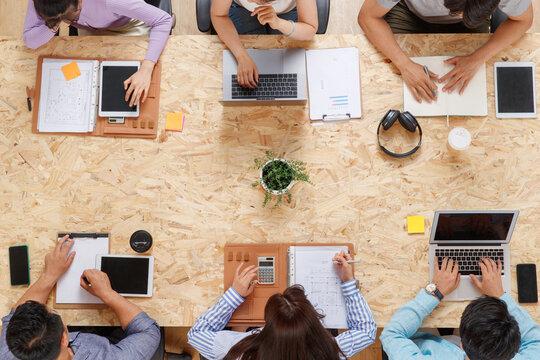 The office staff meeting in indoor