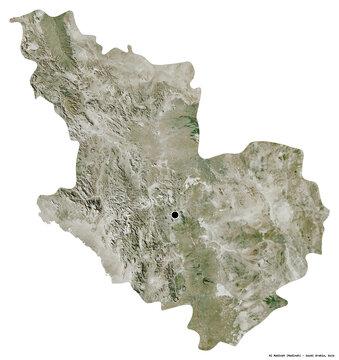 Al Madinah, region of Saudi Arabia, on white. Satellite