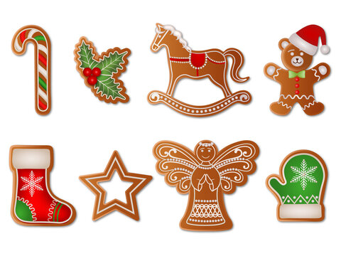 set of christmas gingerbreads