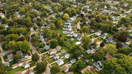 Aerial drone view of American suburban neighborhood. Establishing shot of America's  suburb. Residential single family houses pattern. Autumn Fall season - fototapety na wymiar