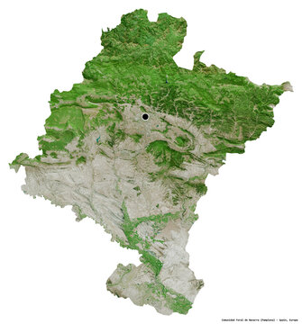 Comunidad Foral de Navarra, autonomous community of Spain, on white. Satellite