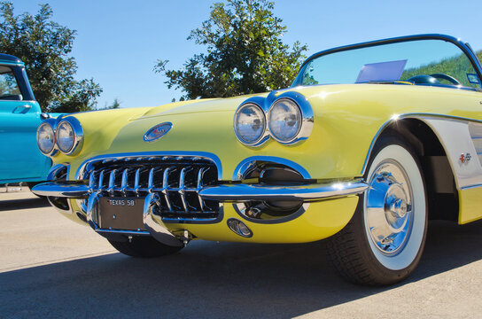 Front view of a vintage, yellow 1958 Chevrolet Corvette Convertible classic car on October 19, 2013 in Westlake, Texas.