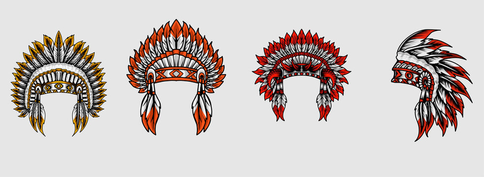 Set indian apache hat on white background-vector