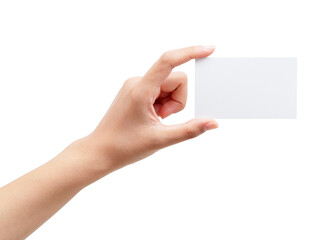 A woman's hand holding a plain business card on a white background