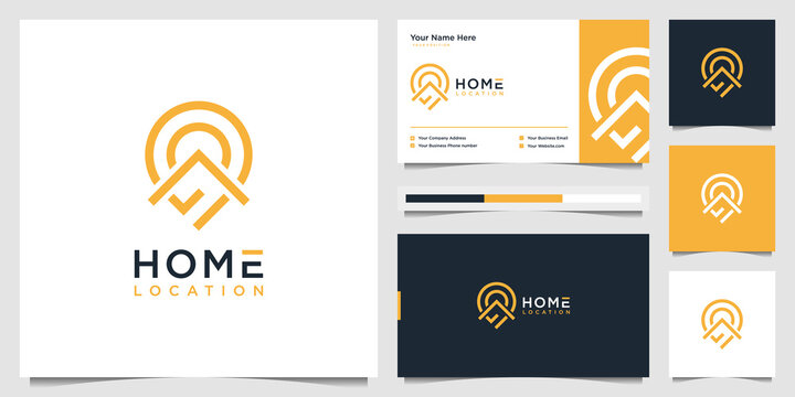 home and pin location logo design with business card template