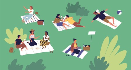 Poster Snelle auto s Diverse people spending time at summer park vector flat illustration. Man and woman talking, lying and sitting on plaid, sleeping, eating and working on laptop. Leisure activity at relaxed place