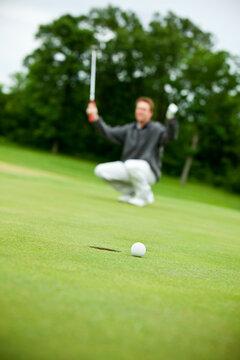 Golf: Man Misses Putt on Green