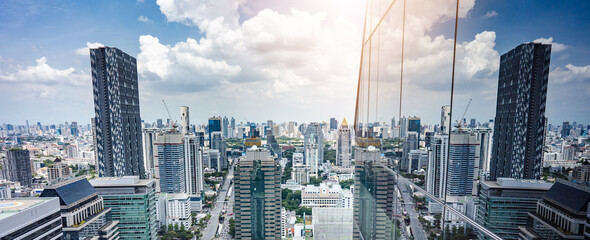 skyscrapers in the city, business corporate office sathorn building bangkok.