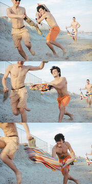 Triptych of Young Men Friends Playing Snap Towel at each other on Sunny Summer Day in Rockaway Beach