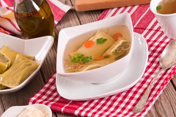 Maultaschen - swabian filled pasta ( ravioli ).