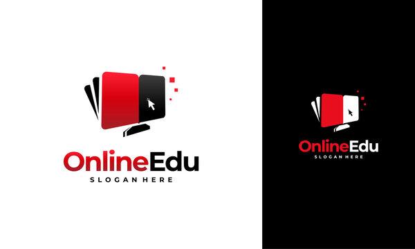 Online Education logo designs concept, Computer Book logo designs template