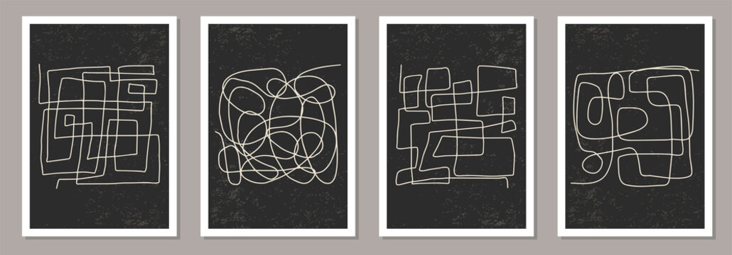 Trendy set of abstract aesthetic creative minimalist hand drawn composition