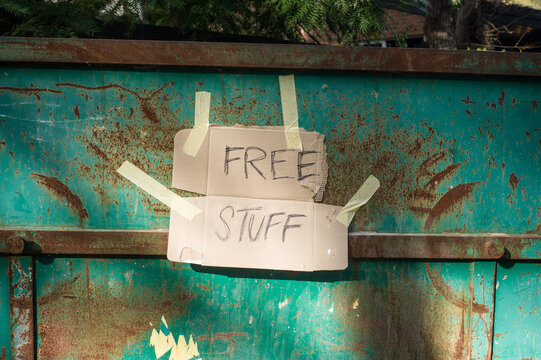 sign on a dumpster