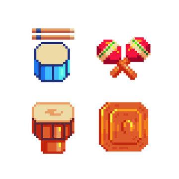 Drum and Maracas, musical instrument pixel art icon, Turkey symbol. Darbuka isolated vector illustration. 8-bit. Design for stickers, logo, mobile app.
