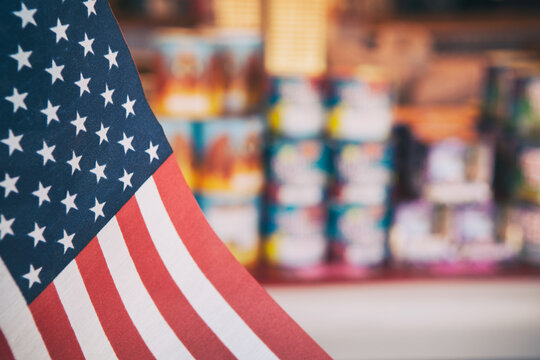 Fireworks: United States Flag with Fireworks For Sale
