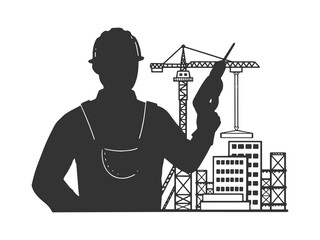 Builder with building construction site sketch