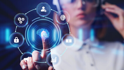 Artificial intelligence (AI), machine learning and modern computer technologies concepts. Business,...