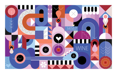 Abstract art composition of wine bottles, guitar, piano and geometric shapes, vector illustration. Can be used as seamless background.