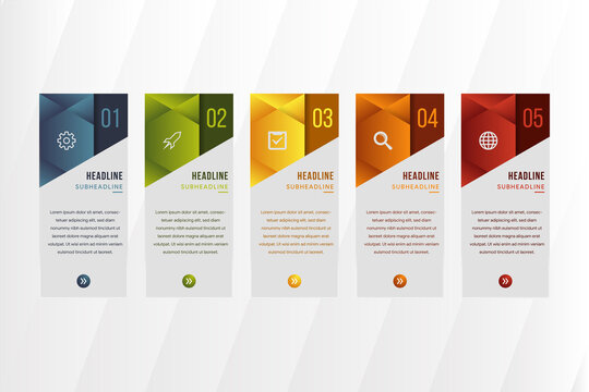 five step infographic design template use vertical rectangle layout background. triangle and hexagon element design use soft and dark pastel colors.