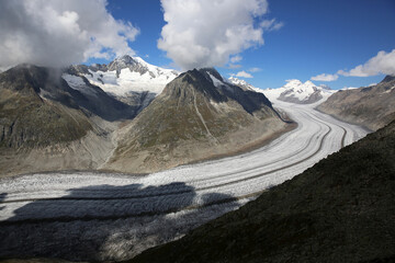Aletsch Glacier in the Bernese Alps. Switzerland. Europe