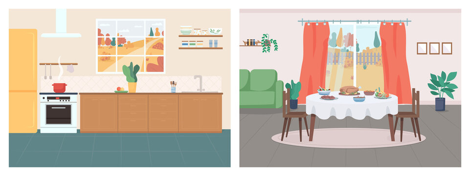 Cozy home flat color vector illustration set. Kitchen in household. Thanksgiving serving on table in living room. House 2D cartoon interior with autumn in window on background collection