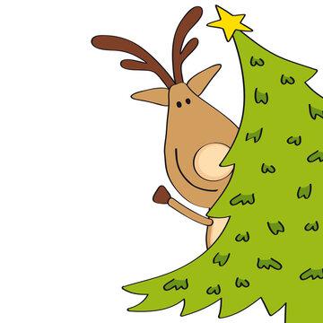 funny reindeer hiding behind christmas tree Merry Christmas greeting card, cartoon vector illustration